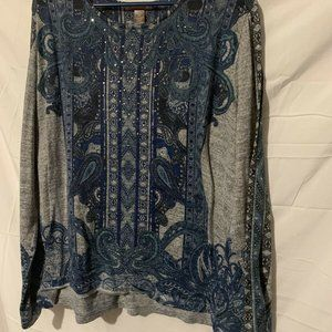 Grey and blue Shirt Paisley Print  By White Stag